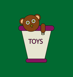 Flat icon design collection teddy bear in bucket vector