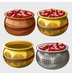 Gold silver and clay pot with rubies vector image