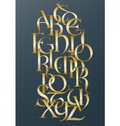 golden Lombard alphabet vector image
