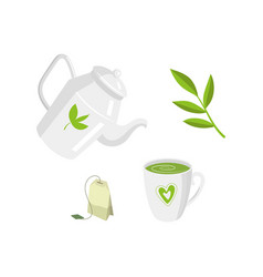 Green tea ceremony set flat isolated vector