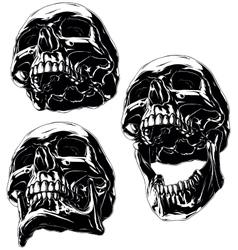 High detailed cool black human skull set vector image vector image