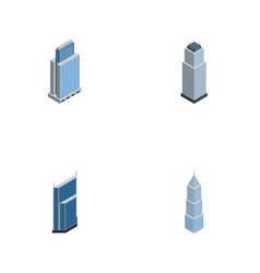 Isometric construction set of residential tower vector