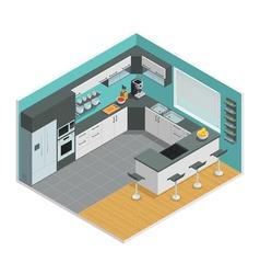 Kitchen interior isometric design vector