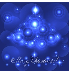 Merry Christmas card with blue glowing flares vector image