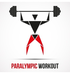 Paralympic workout powerlifting logo with triangle vector