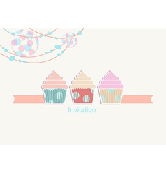 Party invitation with a light and cupcakes vector