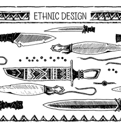 Pattern with Native American knifes Tribal vector image vector image