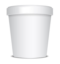 Plastic or paper bucket food tub container for ice vector
