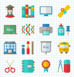 School Colorful Simple Icons vector image vector image