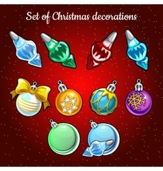 Set of Christmas toys and decor on Christmas tree vector image