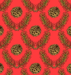 Sketch pine branch and cones vector image