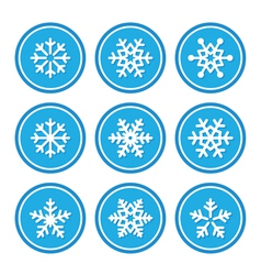 Snowflakes icons as retro labels vector image vector image