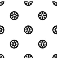Sprocket from bike pattern seamless black vector
