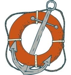 Steel Ship Anchor and Red Lifebuoy vector image vector image