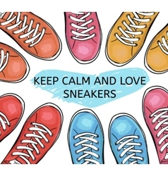Summer trendy sports shoes Collection of colorful vector image