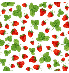 Watercolor seamless pattern with strawberries and vector