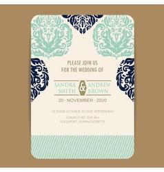 wedding navy blue vintage invitation card vector image vector image