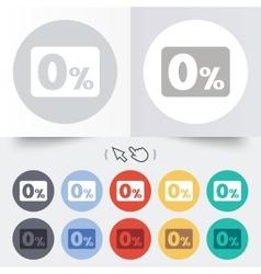 Zero percent sign icon Zero credit symbol vector image