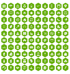 100 mother and child icons hexagon green vector