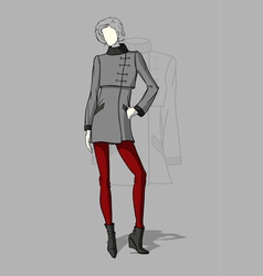 Woman in short coat vector