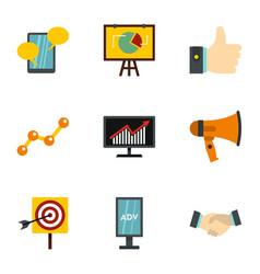 marketing icons set flat style vector image