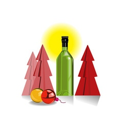 Wine bottle tree baubles vector