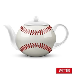 Ceramic teapot in baseball ball style football vector
