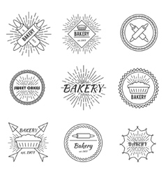 Set of outline emblems vector