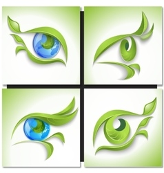 Set of eco icons look green vector