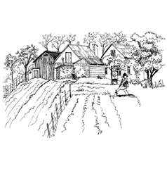 Rural landscape sketch vector