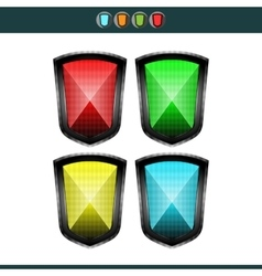 Shields - red yellow blue and green vector