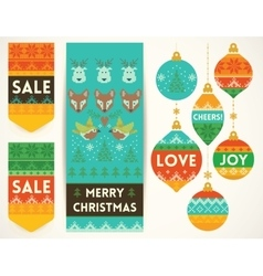 Knitting elements for christmas decoration vector