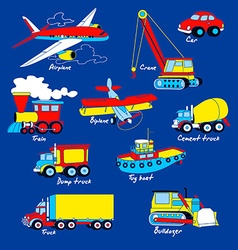 Transport set on blue background vector