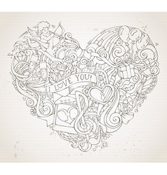 Vintage hand-drawn doodles heart background in vector