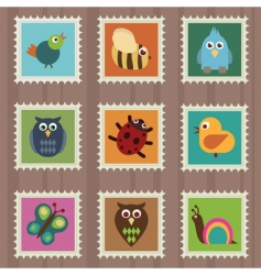 Wildlife stamps vector