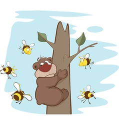 Bear and bees cartoon vector
