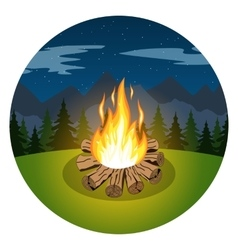 Cartoon bonfire on night landscape vector