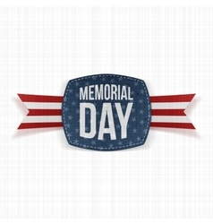 Memorial day textile emblem and ribbon vector