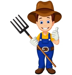 Cartoon farmer thumb up vector