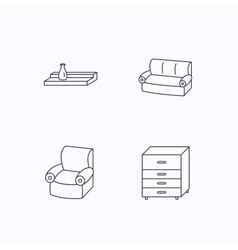 Sofa wall shelf and armchair icons vector