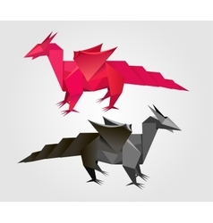 Abstract origami dragon vector