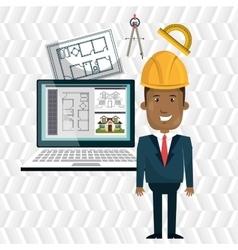 Architect laptop tools job vector