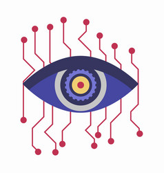 Artificial intelligence eye with connection points vector