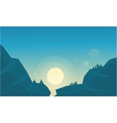 Beautiful landscape at sunrise mountain vector image