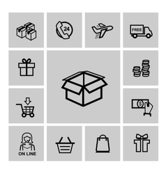 Black shopping icons vector