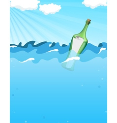 Bottle with message vector