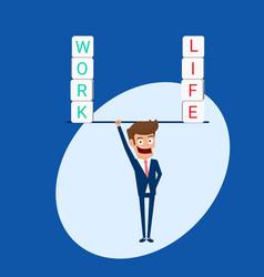 Businessman balance between work and life vector