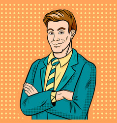 businessman smiling pop art hand drawn vector image vector image