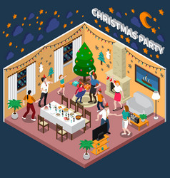 Christmas party isometric composition vector
