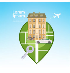 City building house view with car gps pin travel vector